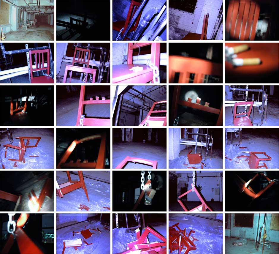 Series of photos of the chair I killed for Kevin O'Callahan's 3D design class. The room was very very dark and all I had was a small flashlight.